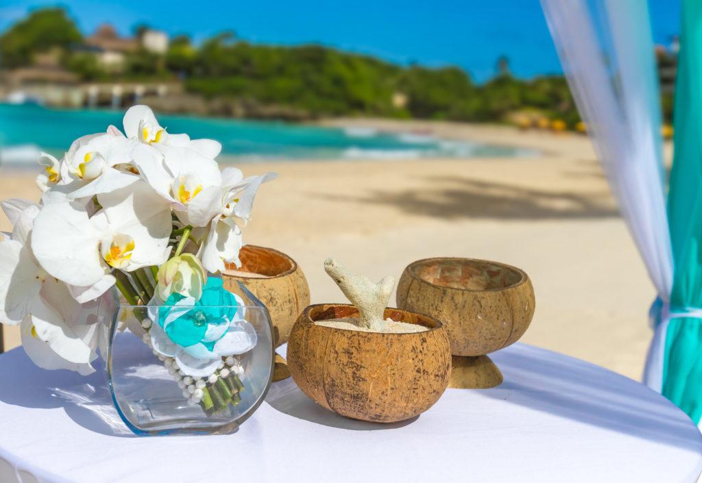 Beautiful Wedding Arch On Tropical Sand Beach, Outdoor Beach Wed