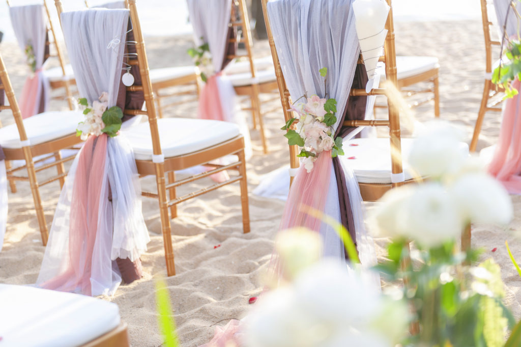Romantic Wedding seating on the beach